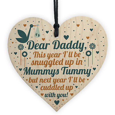 Daddy To Be Gift From Bump Baby Shower Dad Birthday Friend Wood Heart
