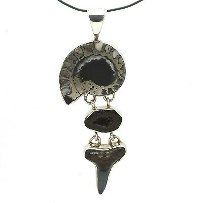 Artisan Handcrafted Sterling Pyrite Ammonite Druzy & Shark Tooth Fossil Pendant