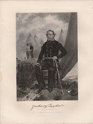 """Zachary Taylor 8"""" x 11"""" Antique Art Print Steel Engraving 1881"""