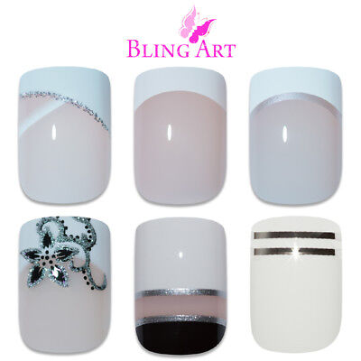 Bling Art False Nails White Fake French Manicure Glitter Medium Tips with Glue