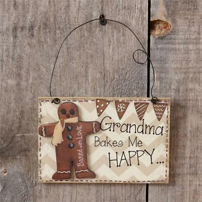 New Primitive GRANDMA BAKES ME HAPPY Gingerbread Man Christmas Ornament Sign 6""