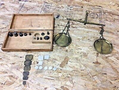 American Scale Works Troy Weight Hanging Balance Scale Lot Vintage / Antique