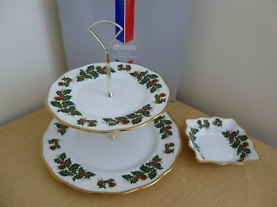 Queens Yuletide Rosina China 2 Tier Cake Stand & Nibbles Dish for Christmas