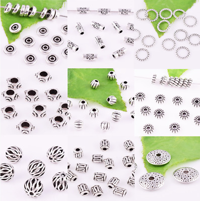 Wholesale Lot Tibetan Silver Loose Spacer Beads Jewelry Findings Various Shapes