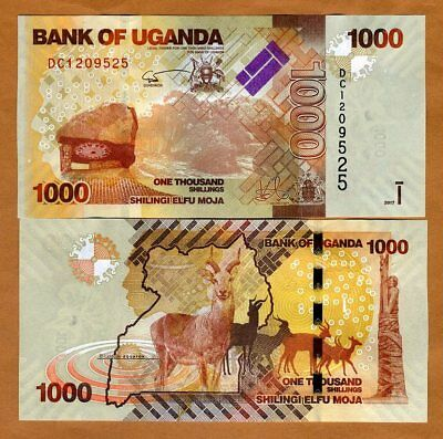 Uganda, 1000 (1,000) Shillings, 2017, P-49 (49d), New Signature, UNC > Antelopes