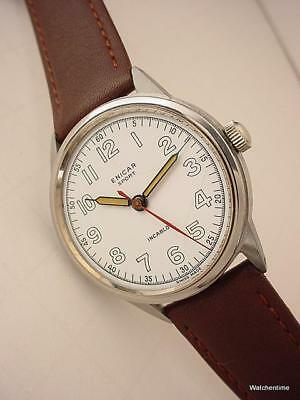 Vintage 1940's ENICAR Sport Wristwatch Porcelain Dial Stainless Steel Unpolished