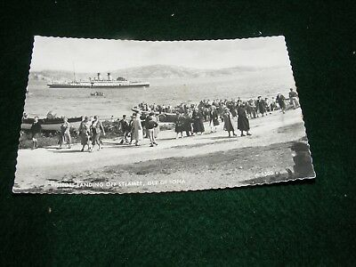 Vintage Postcard Crowds Landing From Steamer Ferry Iona Rp