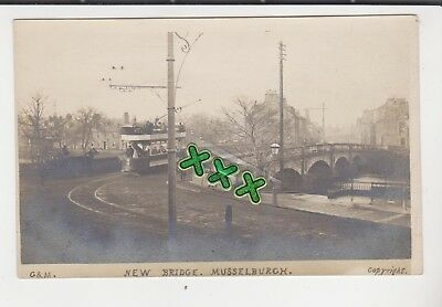 G & M Postcard - New Bridge, Musselburgh. ( Incl Tram ).