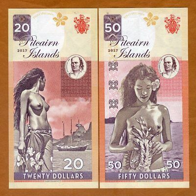 Pitcairn Islands, Set, $20 - $50, private issue, 2017, no S/Ns, Bounty