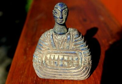 Stunning & Rare Ancient Bactrian Hand Carved Lapis Lazuli Stone King Statue