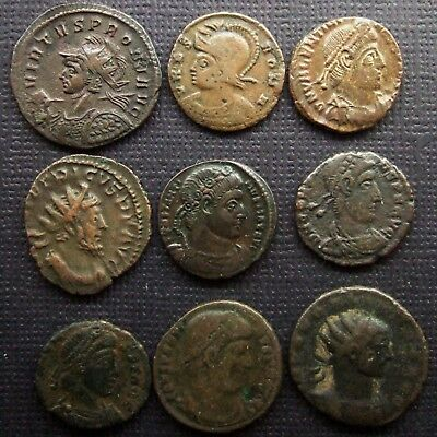 (A) Roman Imperial; A job lot of 9 AE coins; various types