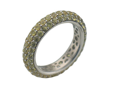 Vintage Yellow Sapphire Eternity Band 18K White Gold Ring Size 6.5
