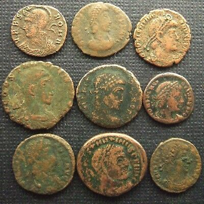 (B) Roman Imperial; A job lot of 9 AE coins; various types
