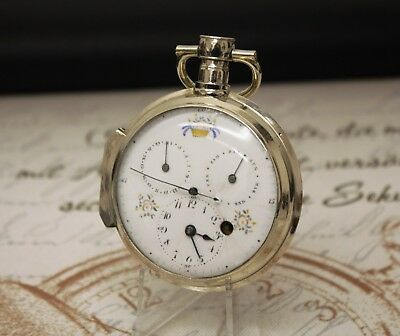 Beautiful antique french verge fusee doctors calendar pocket watch C.1800