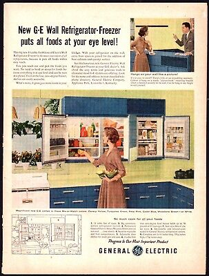 1956 GE General Electric Wall Refrigerator Freezer AD Vintage Retro Kitchen