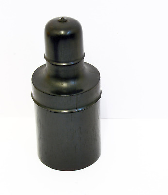 Elegant French Vintage Real Ebony Wood Screw Top Container - 12cm Height. Wooden