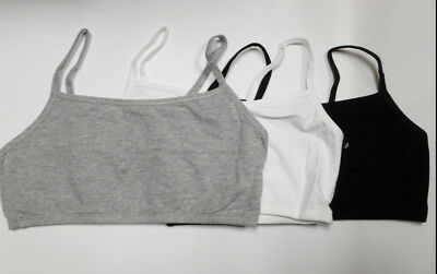 2fe721e443f05 NWT 3 pc FRUIT of THE LOOM Sport Bra Tank 9036c blk gray spaghetti strap Sz