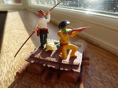 Vintage Timpo Wild West Series  Figures, 2 Cowboys On A Raft