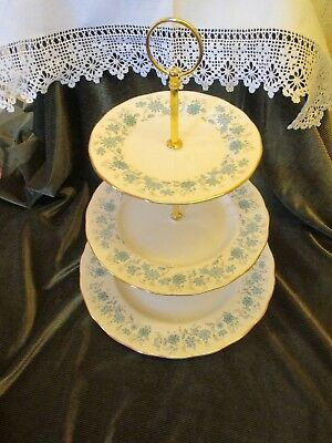 Lovely Vintage Colclough China Plated 3 Tier Cake Stand 'braganza'
