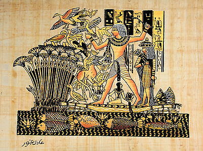 """Egyptian Papyrus - Hand Made - 9"""" x 13"""" -Ancient Art -Lord Menna Hunting Birds"""