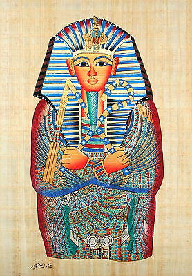 "Egyptian Papyrus - Hand Made - 12"" x 16"" Ancient Art - King Tut's Mask- Lg View"