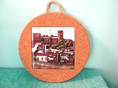 "Portugal Cork & Tile Wall Décor Trivet, 7 ¼"" Round, Rope Hanger, Castle Scene"