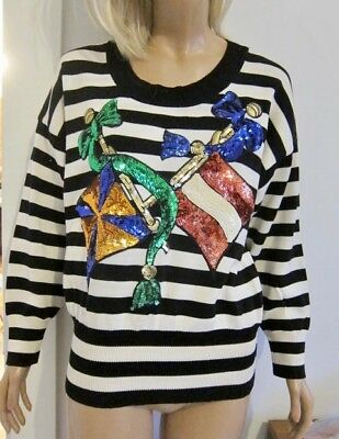 Vintage 80s ESCADA STRIPED MARINER SEQUIN FLAG & BOW SWEATER