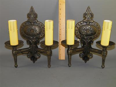 Antique Spanish Revival Gothic Mission Lightolier Pair Sconces Hammered Metal