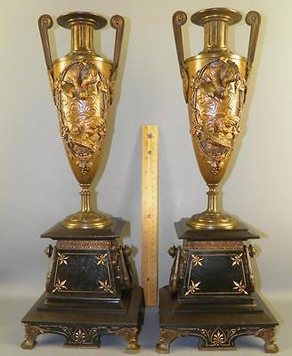 Antique French Victorian Aesthetic Figural Bronze Black Marble Garnitures Urns