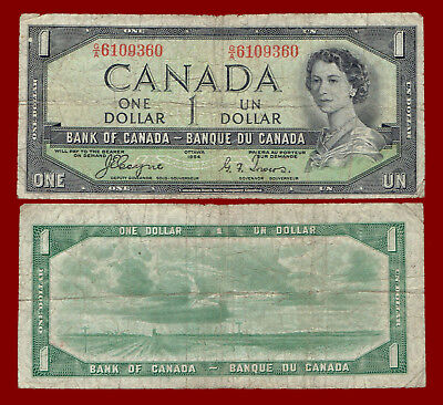 "1954 Canada One Dollar ""devil's Face"" Note 9360"