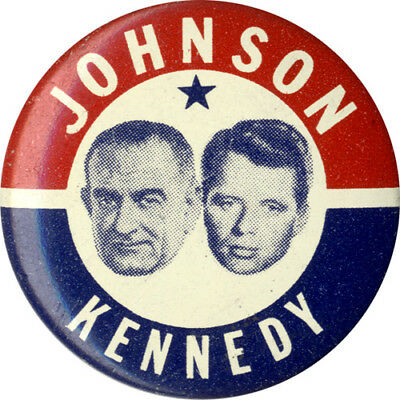 Jugate 1964 Lyndon JOHNSON Robert KENNEDY New York Senate Button (1813)