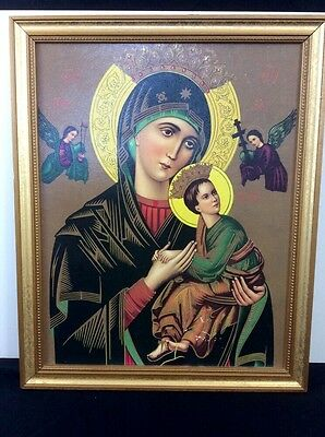 "Vtg Virgin Mary& Child Jesus Painted in Byzantine icons ""Hodigitria"" Beautiful!"