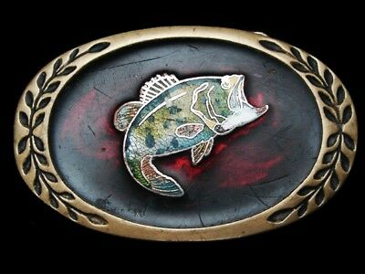 LG13122 VINTAGE 1970s ***LARGE MOUTH BASS*** SOLID BRASS FISHING BELT BUCKLE