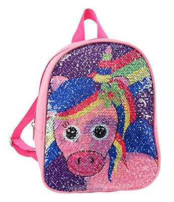 Unicorn Switches To Rainbow Sequins Backpack 10""