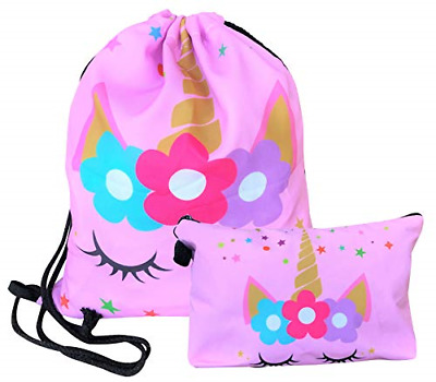 Unicorn Drawstring Backpack Makeup Bag Set - Unicorn Gifts for Girls Pink Star