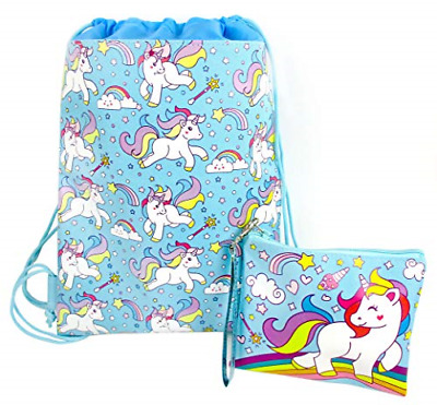 Unicorn Drawstring Backpack and Wristlet Blue