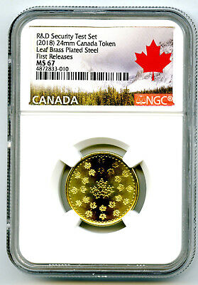 2018 Canada Maple Leaf Brass Ngc Ms67 Test Token  First Releases From R & D Set