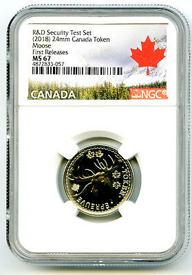 2018 Canada 25 Cent Moose Ngc Ms67 Test Token First Releases From R & D Set