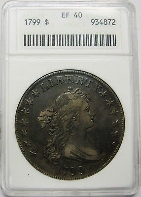 1799 Draped Bust Silver Dollar ANACS EF40 Nice Original Uncleaned Coin
