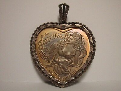 Large Heart Taurus Necklace Pendant  One Troy Ounce Silver Heart Taurus Rw Vntg