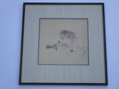 Fine Old Antique Monkey Painting Chinese Or Japanese Signed Scholar Art  Vintage