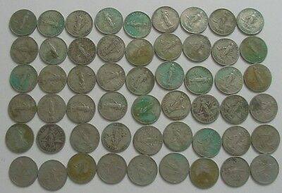 54 Philippines 10 Centavos (1960, 1962, 1963, 1964 & 1966) Circulated Coins