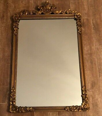 "Vintage Mirror 32 x 20"" Gold Hollywood Regency framed rectangular Gilt baroque"