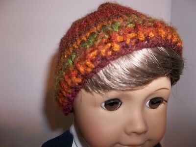 """Fall Color Handknit Hat Doll Clothes made for 15"""" and 18"""" American Girl Boy New"""