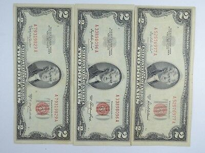 Lot (3) Red Seal $2.00 US 1953 or 1963 Notes - Currency Collection *058