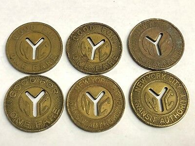 """6 x NYC vintage Subway Tokens, New York City transit, brass """"Large Y"""" 1970-1980"""