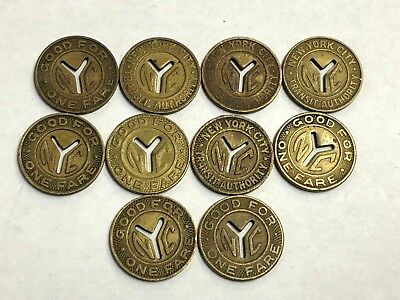 """10 x NYC vintage Subway Tokens, New York City transit, brass """"Small Y"""" 1950s-60s"""