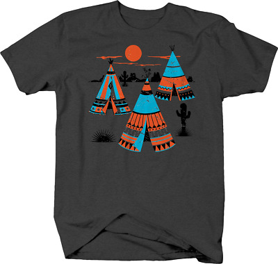 Native American Indian Tipi Tents Cactus Mountains Moonlight T shirt for men