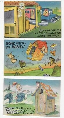 COMIC Bathroom Humor Gone With The Wind - Lot of 3 Unposted Post Cards #2773