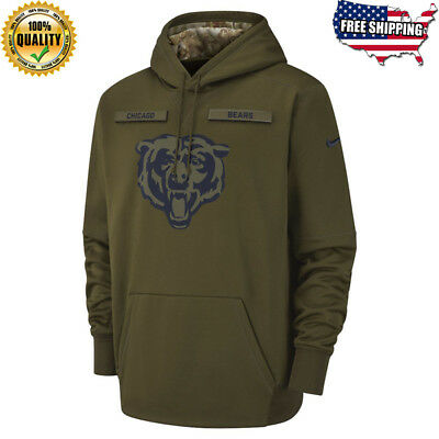 New Men's Chicago Bears Olive Salute to Service Sideline Therma Hoodie 2018 🔥